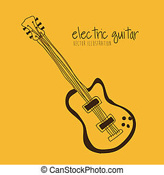 electric  guitar over yellow background vector illustration