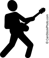 Electric guitar player pictogram