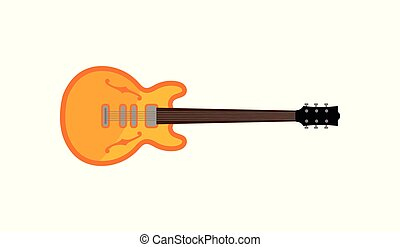 Electric guitar, rock music instrument vector Illustration on a white background
