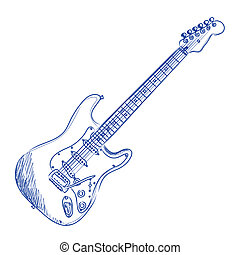sketch of an electric guitar in blue ink