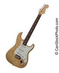 Electric Guitar - Electric guitar with clear wood finish on...