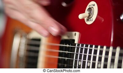 Electric guitar switch for choosing treble rhythm - Close up...