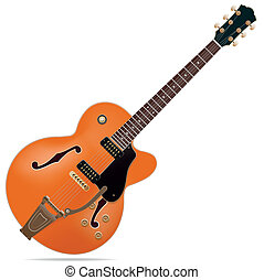 Electric guitar - The orange semi-hollow electric guitar...