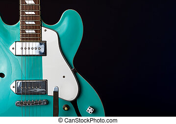 Electric Guitar, turquoise, 6 String isolated on black