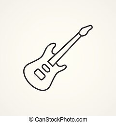 Solid Guitar Outline A Solid Body Electric Guitar In White Outline