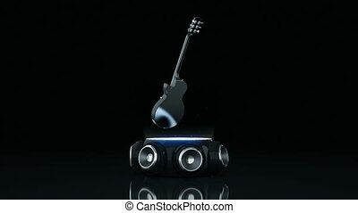Electric Guitar with speakers 3D