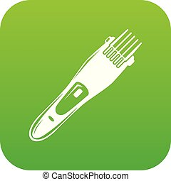 Electric hair clipper icon green vector