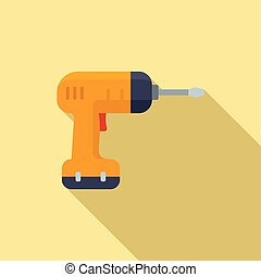 Electric hand drill icon, flat style
