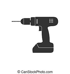 Electric hand drill icon. Vector illustration, flat design.