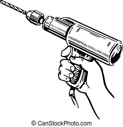 Electric hand drill in the hand on white background