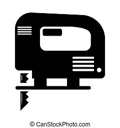 Electric hand jigsaw icon on white background