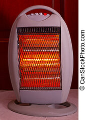 Electric heater - A plastic lit electric heater, entire view