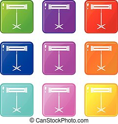 Electric heater icons 9 set