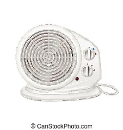 Electric heater with fan, radiator appliance for space heating. Icon of domestic heater with electric cord. 3D illustration isolated on white background