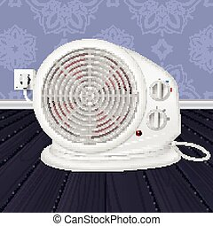 Electric heater with fan, radiator appliance for space heating in the interior of room. Domestic electric heater with plug and electric cord. 3D illustration.