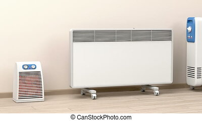Electric heaters in the room - Different types of domestic...