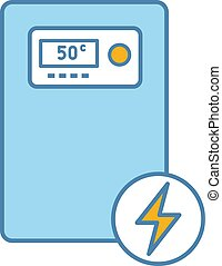 Electric heating boiler color icon. House central heater. Heating system. Isolated vector illustration