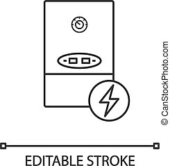 Electric heating boiler linear icon. House central heater. Thin line illustration. Heating system. Contour symbol. Vector isolated outline drawing. Editable stroke