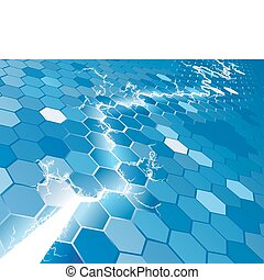 Electric Hexagon Background Concept - An electric hexagon...