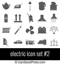 Electric. Icon set 2. Gray icons on white background.
