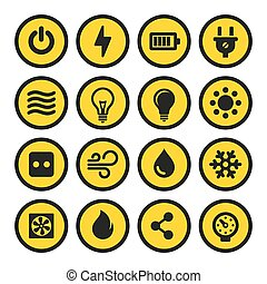 Electric Icons Set. Yellow Signs. Vector