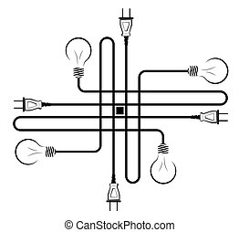 Electric incandescent lamp with wire and plug. Logo for an electrical company. Power supply and energy saving. Black and white logo