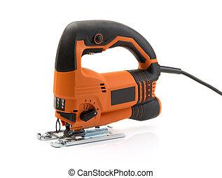 Professional electric jigsaw orange. Isolate on white.