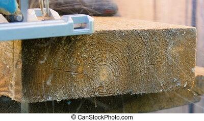 Electric jig saw, sawing board