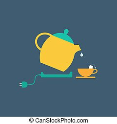 Electric kettle and tea cup illustration