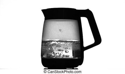 Electric kettle begins to boil. White background - Electric...