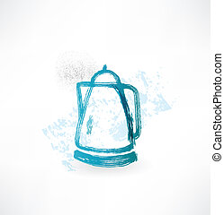 electric kettle grunge icon.