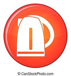 Electric kettle icon, flat style