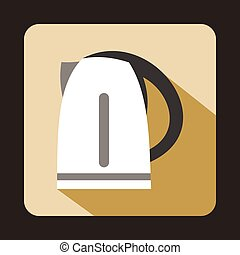 Electric kettle icon in flat style