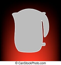 Electric kettle sign. Postage stamp or old photo style on red-black gradient background.