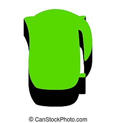 Electric kettle sign. Vector. Green 3d icon with black side on w