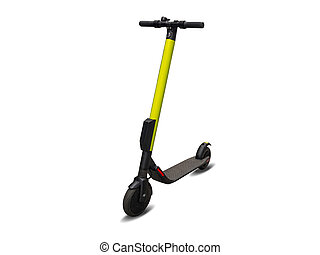 Electric kick modern scooter isolated on white background. Eco alternative transport concept.