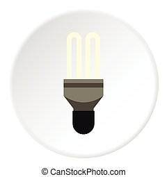 Electric lamp icon, flat style - Electric lamp icon. Flat...