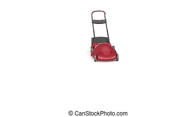 Electric lawn mower drive on white background
