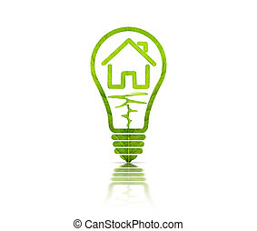 Electric light bulb and house inside