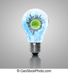 Electric light bulb and planet inside it