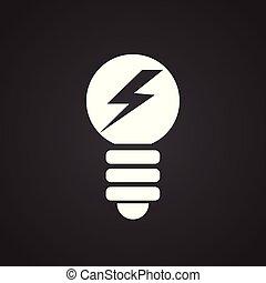 Electric light bulb on black background
