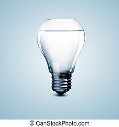 Electric light bulb with clean water