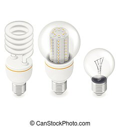 Electric light bulbs isometric icon set