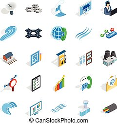 Electric light icons set, isometric style