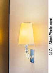 Electric light lamp on wall decoration interior