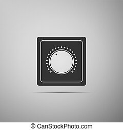 Electric light switch icon isolated on grey background. On and Off icon. Dimmer light switch sign. Concept of energy saving. Flat design. Vector Illustration