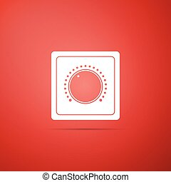 Electric light switch icon isolated on red background. On and Off icon. Dimmer light switch sign. Concept of energy saving. Flat design. Vector Illustration
