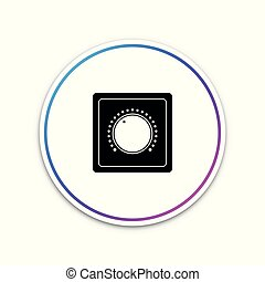 Electric light switch icon isolated on white background. On and Off icon. Dimmer light switch sign. Concept of energy saving. Circle white button. Vector Illustration