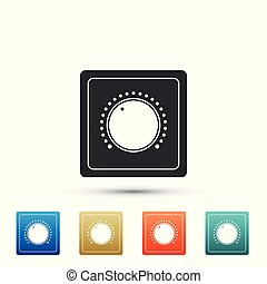 Electric light switch icon isolated on white background. On and Off icon. Dimmer light switch sign. Concept of energy saving. Set elements in colored icons. Flat design. Vector Illustration