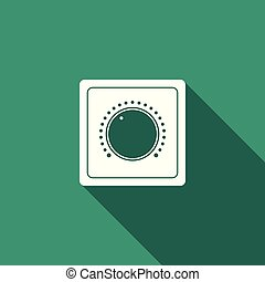 Electric light switch icon isolated with long shadow. On and Off icon. Dimmer light switch sign. Concept of energy saving. Flat design. Vector Illustration